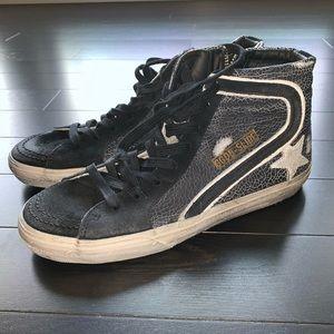 Crackled Black Golden Goose Slide Sneakers